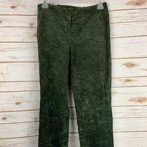 J McLaughlin size 12 crushed velvet pants green